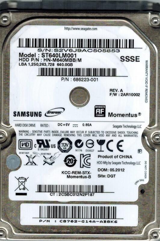 Samsung ST640LM001 HN-M640MBB/M 640GB Seagate F/W: 2AR10002