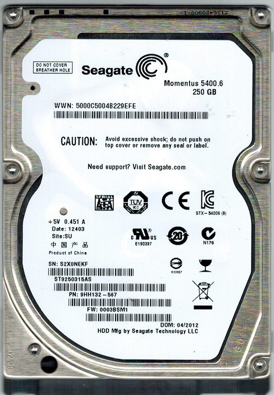 Seagate ST9250315AS P/N: 9HH132-567 250GB F/W: 0003BSM1 SU