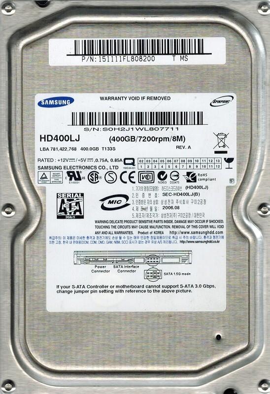 Samsung HD400LJ SPINPOINT 400GB P/N: 151111FL808200