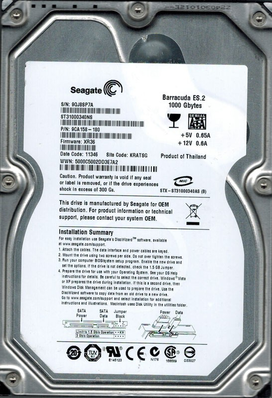 Seagate ST31000340NS P/N: 9CA158-180 F/W: XR36 1TB KRATSG