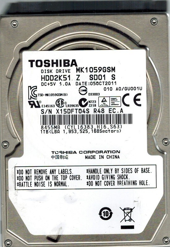 Toshiba MK1059GSM HDD2K51 Z SD01 S 1TB CHINA A0/GU001U