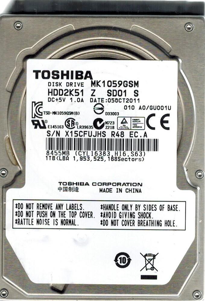 Toshiba MK1059GSM HDD2K51 Z SD01 S 1TB CHINA