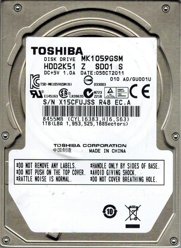 Toshiba MK1059GSM HDD2K51 Z SD01 S 1TB A0/GU001U CHINA