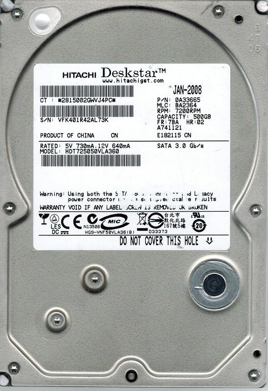 Hitachi HDT725050VLA360 P/N: 0A33665 MLC: BA2364 500GB