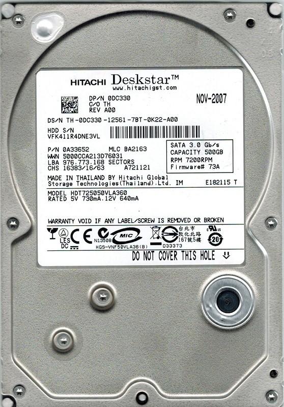 Hitachi HDT725050VLA360 500GB P/N: 0A33652 MLC: BA2163
