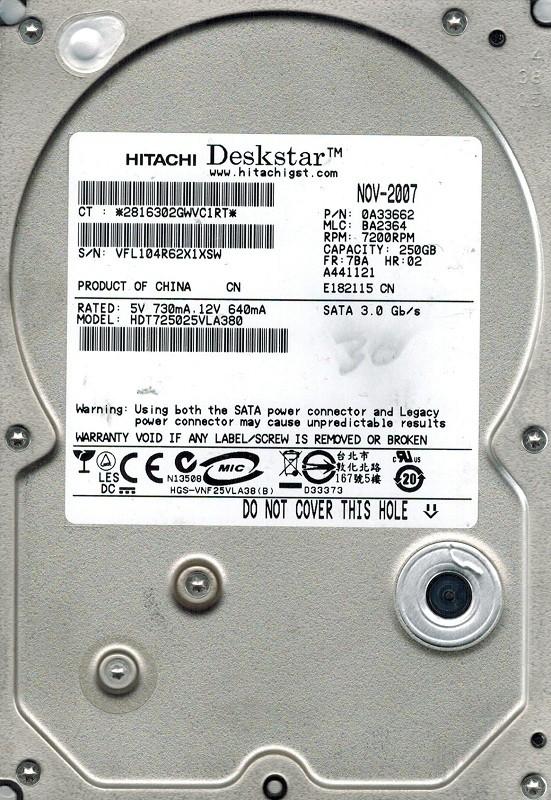 Hitachi HDT725025VLA380 250GB P/N: 0A33662 MLC: BA2364
