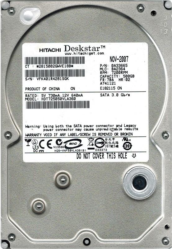 Hitachi HDT725050VLA360 P/N: 0A33665 500GB MLC: BA2364 SATA