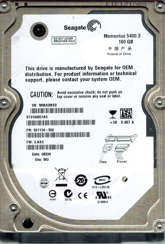 Seagate ST9160821AS 160GB P/N: 9S1134-566 F/W: 3.AXC WU