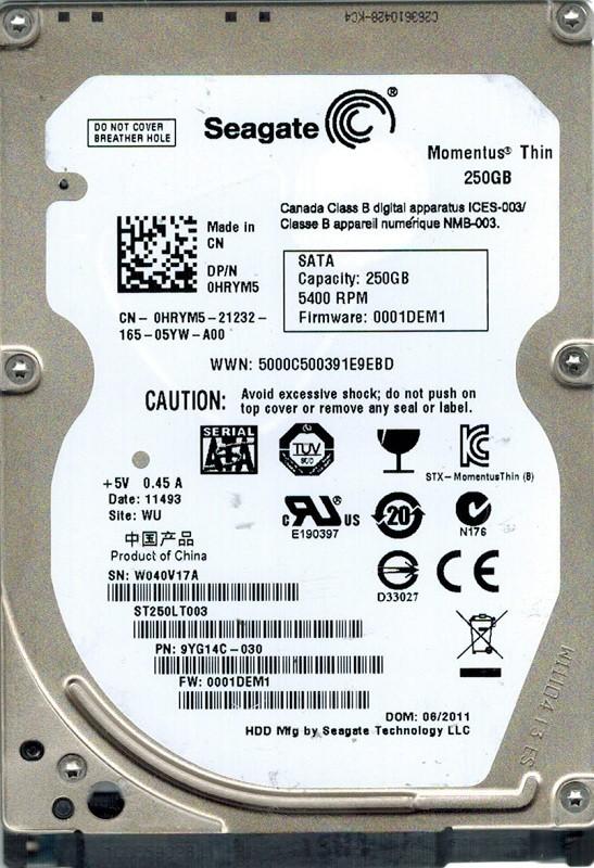 Seagate ST250LT003 P/N: 9YG14C-030 F/W: 0001DEM1 250GB WU