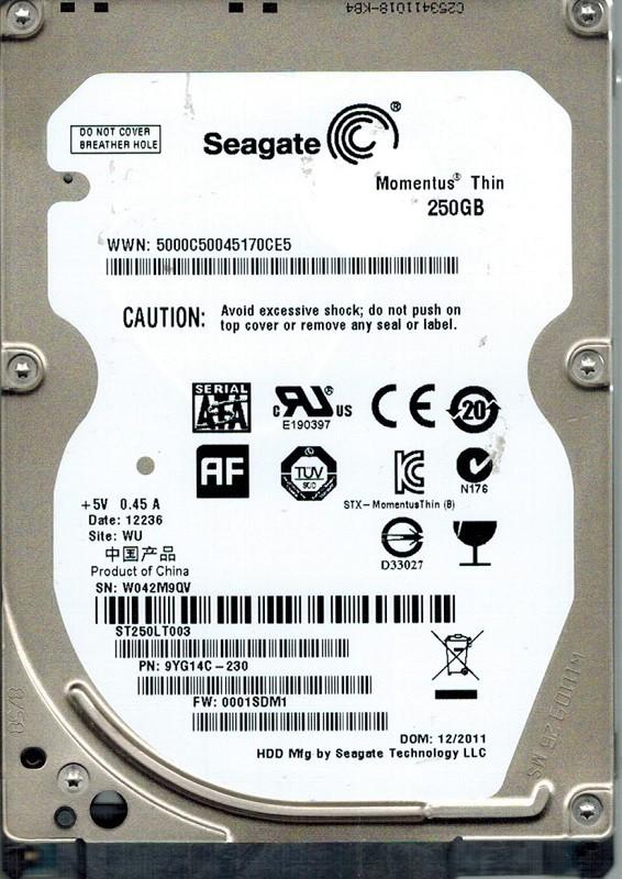 Seagate ST250LT003 P/N: 9YG14C-230 F/W: 0001SDM1 250GB WU