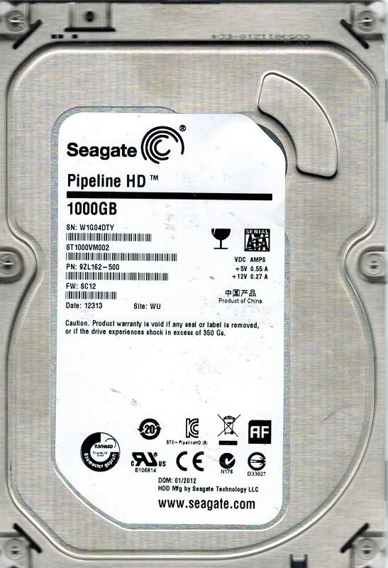 Seagate ST1000VM002 P/N: 9ZL162-500 F/W: SC12 1TB WU