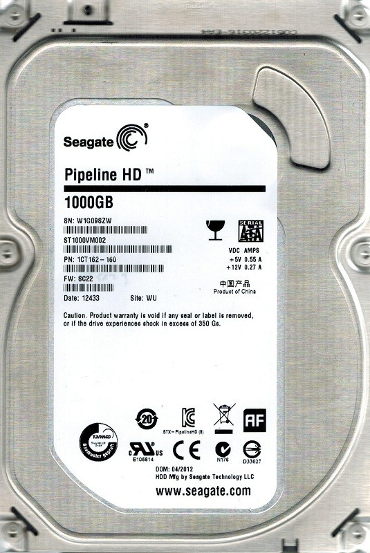 Seagate ST1000VM002 P/N: 1CT162-160 F/W: SC22 WU 1TB