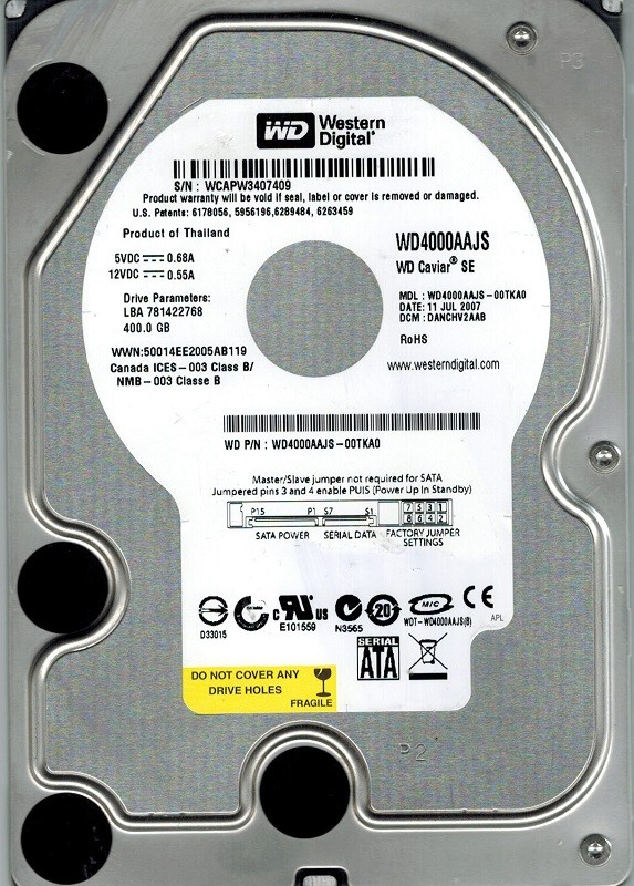 Western Digital WD4000AAJS-00TKA0 400GB DCM: DANCHV2AAB