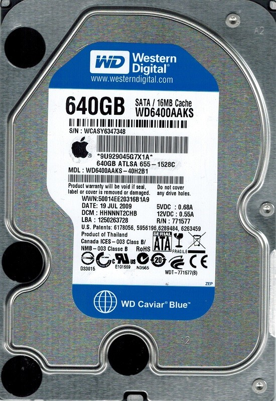 Western Digital WD6400AAKS-40H2B1 640GB DCM: HHNNNT2CHB