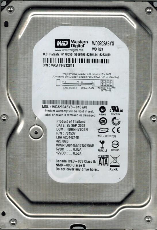 Western Digital WD3202ABYS-01B7A0 320GB DCM: HBRNHV2CBN