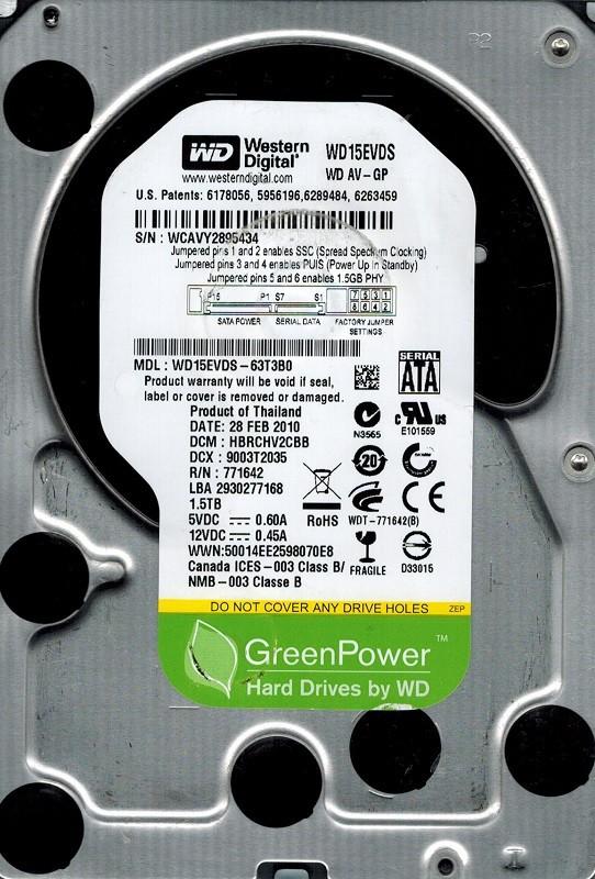 Western Digital WD15EVDS-63T3B0 1.5TB DCM: HBRCHV2CBB