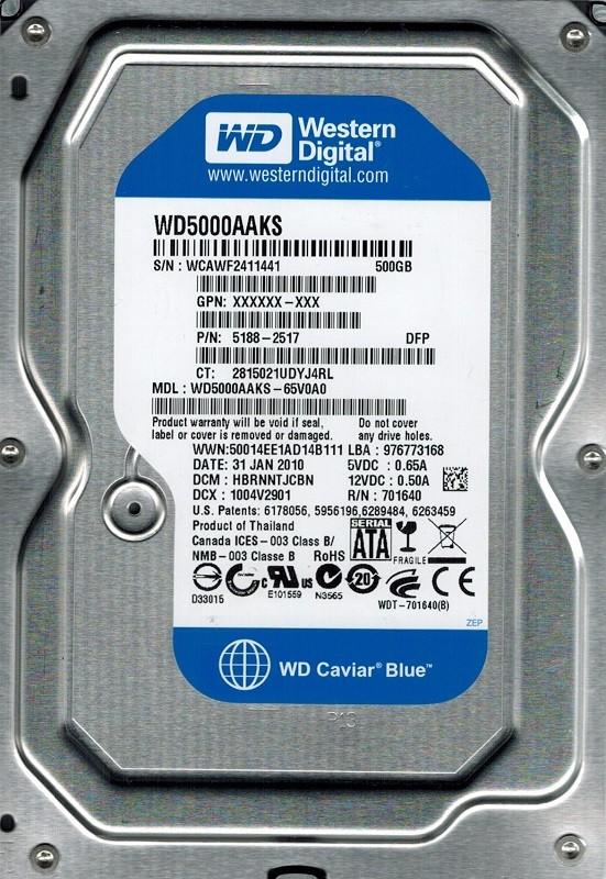 Western Digital WD5000AAKS-65V0A0 500GB DCM: HBRNNTJCBN