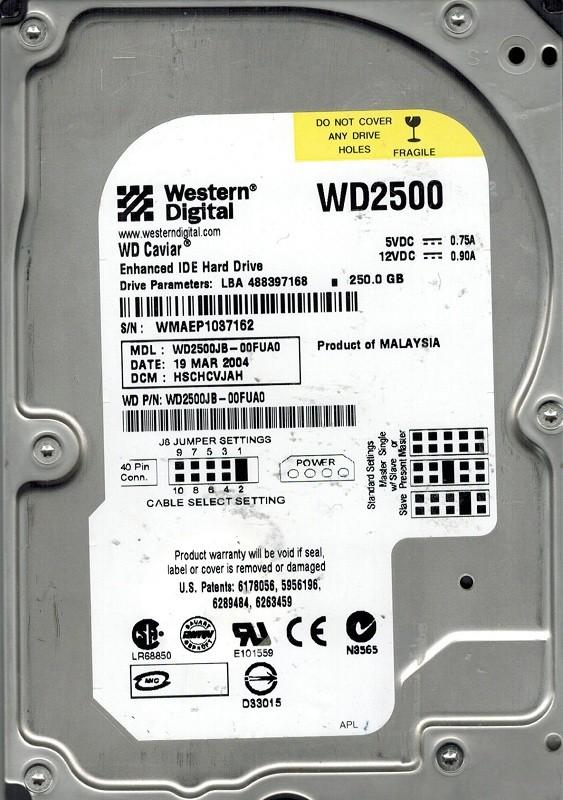 Western Digital WD2500JB-00FUA0 250GB DCM: HSCHCVJAH