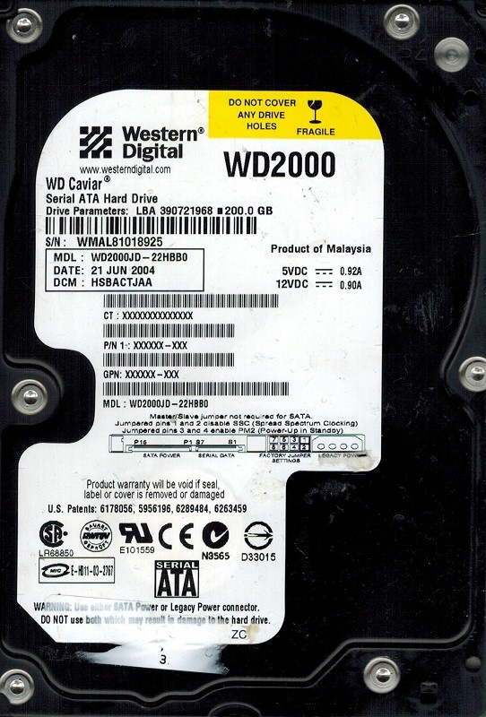 Western Digital WD2000JD-22HBB0 200GB DCM: HSBACTJAA
