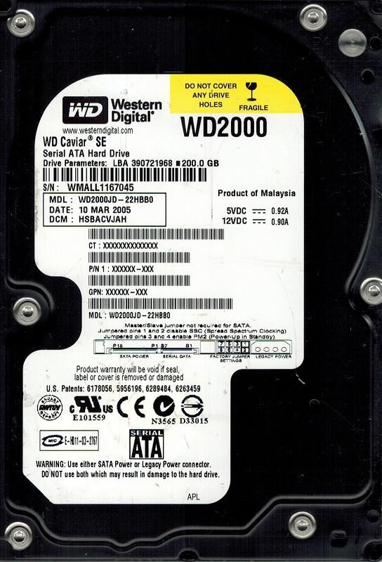 Western Digital WD2000JD-22HBB0 200GB DCM: HSBACVJAH