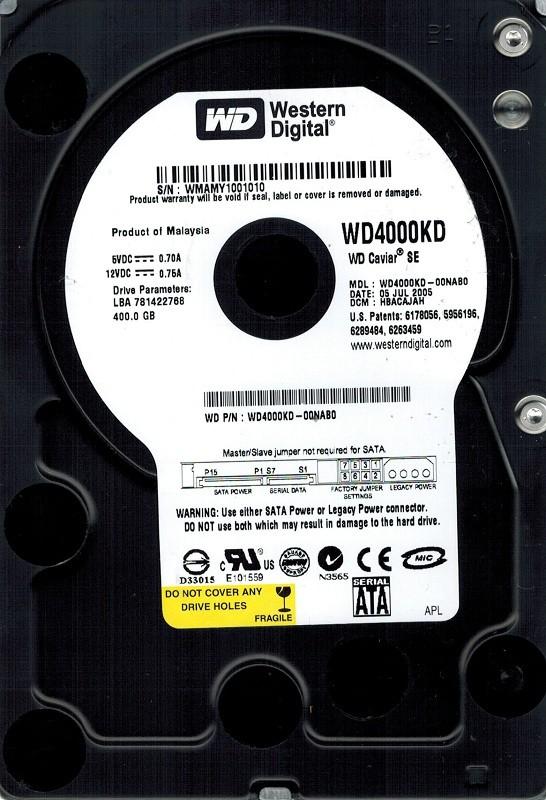 Western Digital WD4000KD-00NAB0 400GB DCM: HBACAJAH