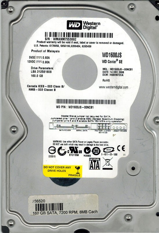 Western Digital WD1600JS-00NCB1 160GB DCM: HSBHNT2CA