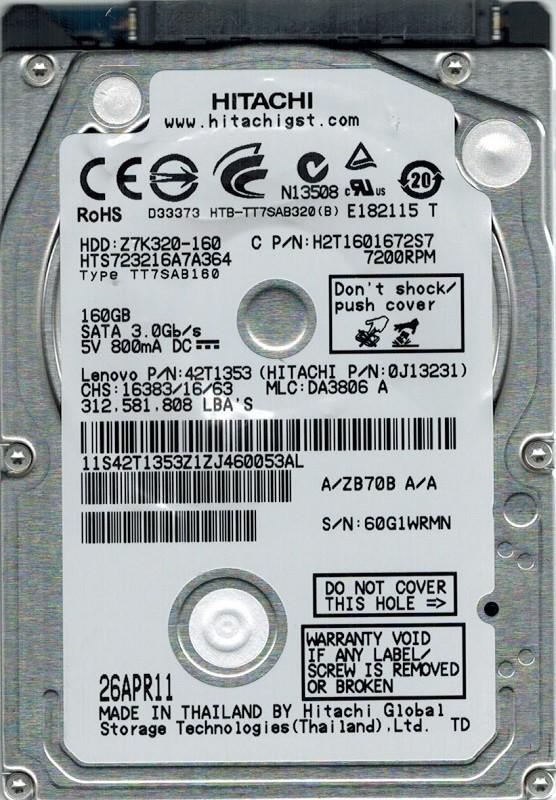 Hitachi HTS723216A7A364 P/N: 0J13231 MLC: DA3806 160GB