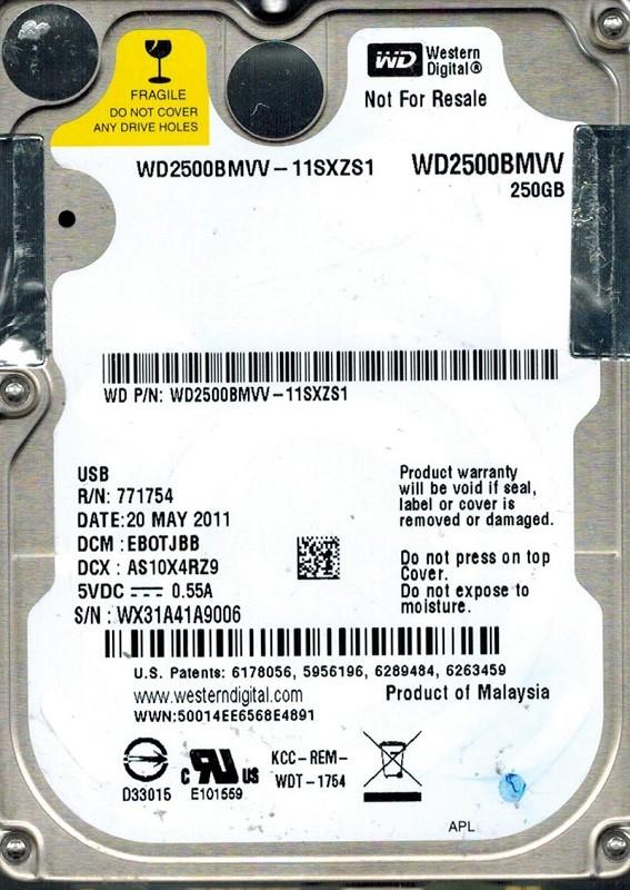 Western Digital WD2500BMVV-11SXZS1 250GB DCM: EBOTJBB