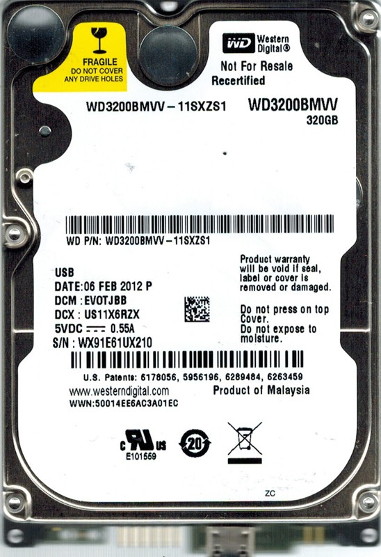 Western Digital WD3200BMVV-11SXZS1 320GB DCM: EVOTJBB