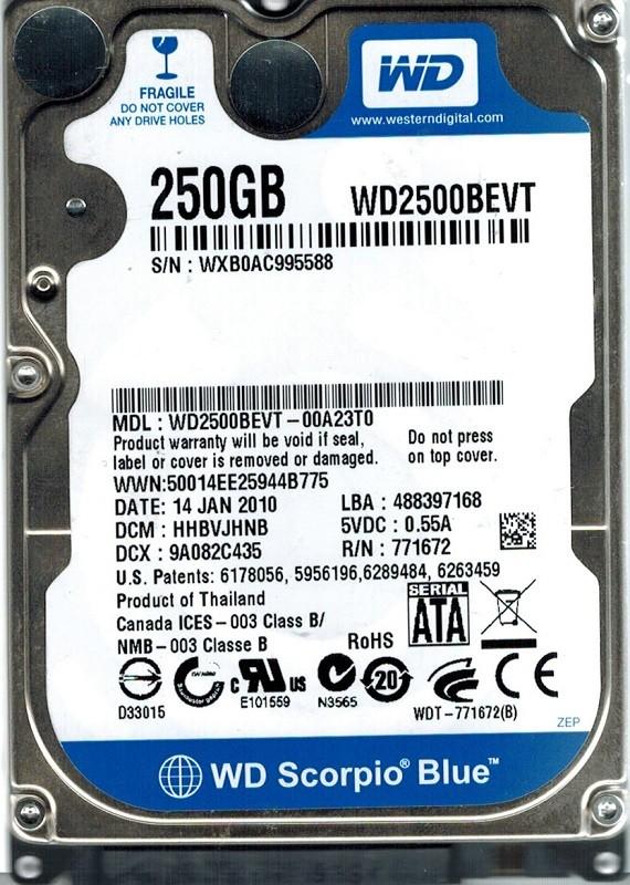 Western Digital WD2500BEVT-00A23T0 250GB DCM: HHBVJHNB