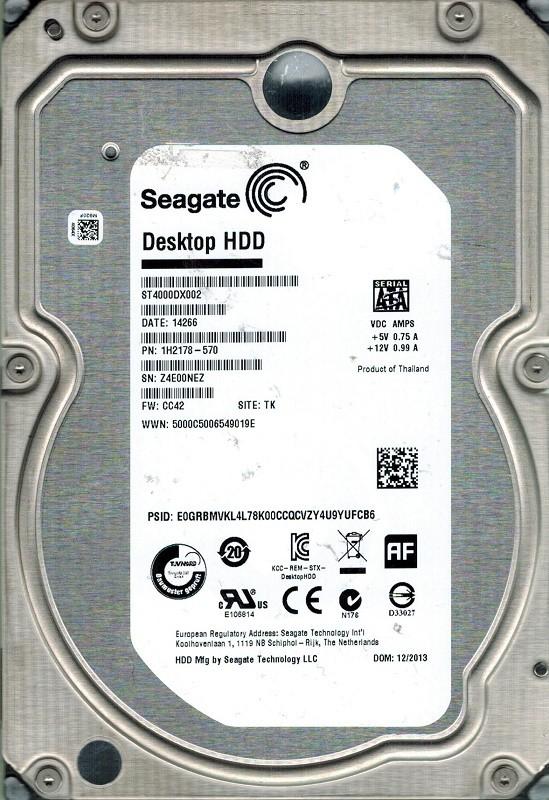 Seagate ST4000DX002 P/N: 1H2178-570 F/W: CC42 4TB TK