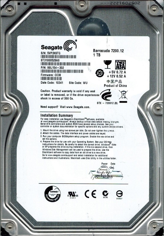 Seagate ST31000528AS P/N: 9SL154-302 1TB F/W: CC38 WU