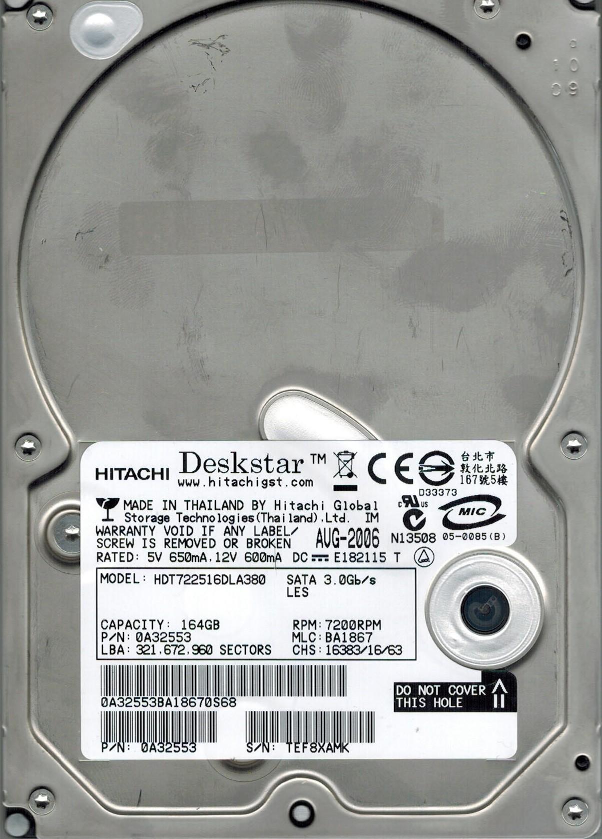 Hitachi HDT722516DLA380 P/N: 0A32553 MLC: BA1867 160GB