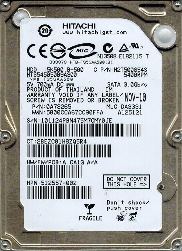 Hitachi HTS545050B9A300 MLC: DA3331 P/N: 0A78265 500GB