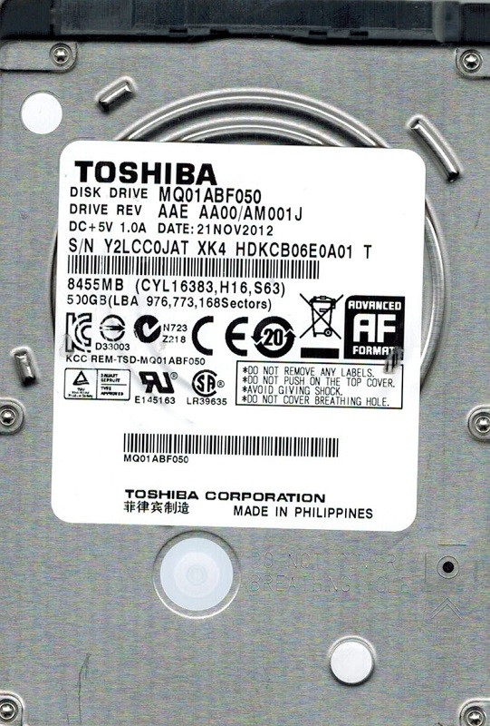 Toshiba MQ01ABF050 500GB AAE AA00/AM001J PHILIPPINES 2012