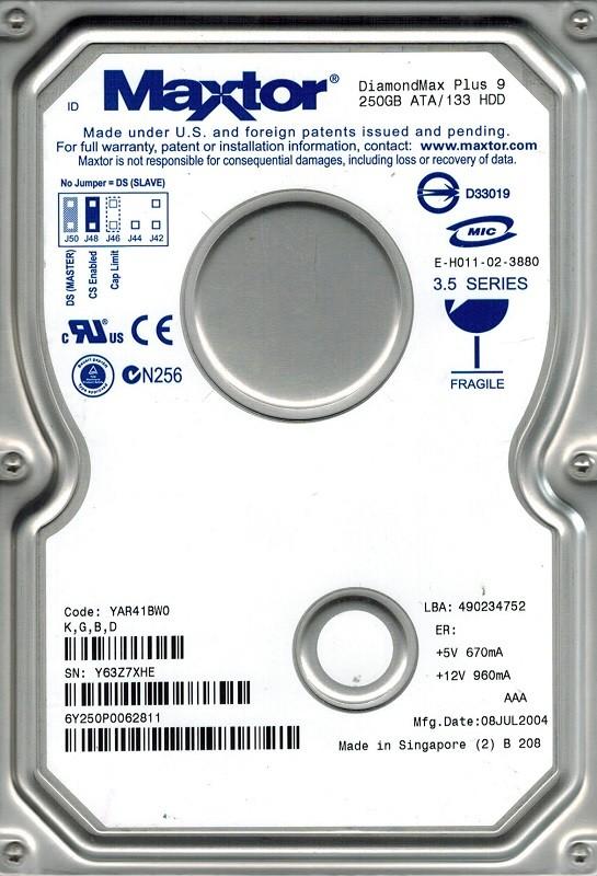 Maxtor 6Y250P0 250GB IDE CODE: YAR41BW0 K,G,B,D