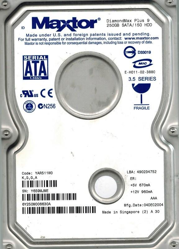 Maxtor 6Y250M0 250GB SATA CODE: YAR511W0 K,G,G,A