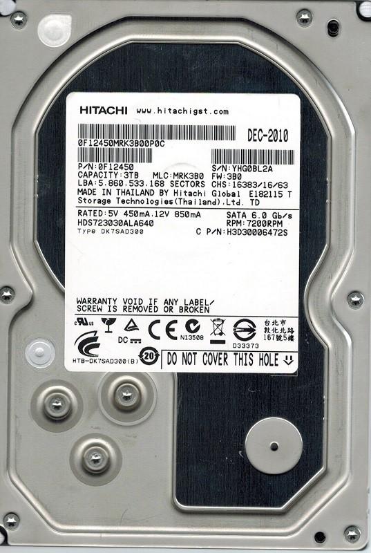 Hitachi HDS723030ALA640 P/N: 0F12450 MLC: MRK3B0 3TB