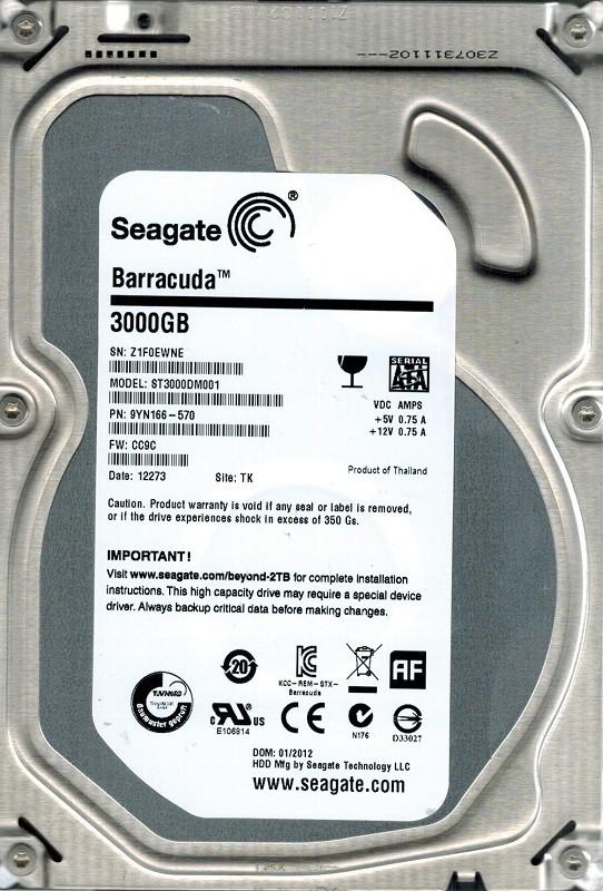 Seagate ST3000DM001 F/W: CC9C P/N: 9YN166-570 3TB TK