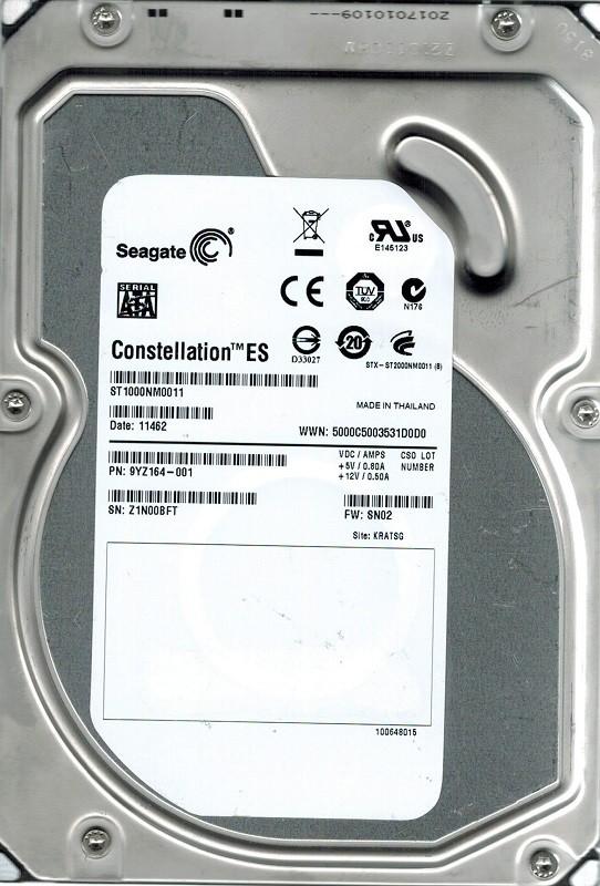 Seagate ST1000NM0011 P/N: PYZ164-001 F/W: SN02 1TB KRATSG