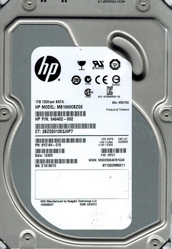 Seagate ST1000NM0011 F/W: HPG1 P/N: PYZ164-015 1TB KRATSG HP