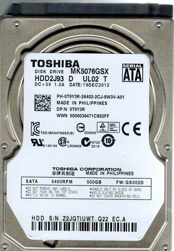 Toshiba MK5076GSX HDD2J93 D UL02 T 500GB PHILIPPINES