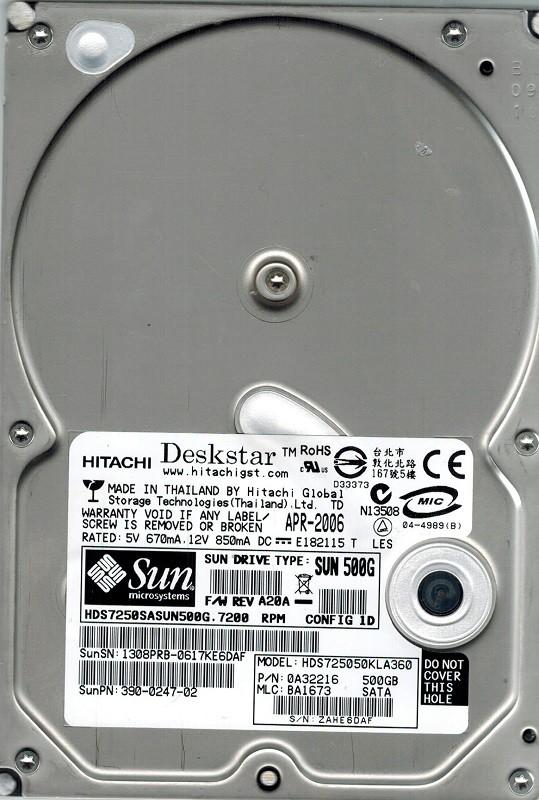 Hitachi HDS725050KLA360 P/N: 0A32216 MLC: BA1673 500GB SUN