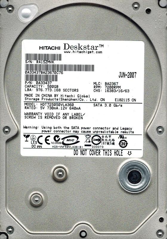 Hitachi HDT725050VLA360 500GB P/N: 0A33437 MLC: BA2367 500GB